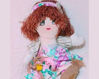 Handmade Fabric Boho Cloth Folk Art Rag Doll Soft Wool Felt Puppy Dog FREE SHIPPING Gift Hippie Doll Bitsy