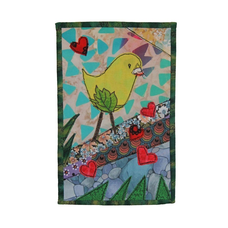 Sending Love Handmade Fabric Greeting Card Folk Art Write on image 0
