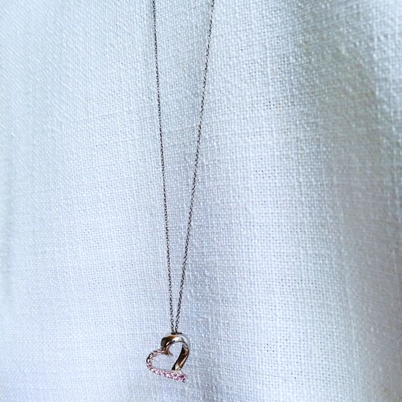 Vintage Heart Silver Chain Necklace Handmade Draws