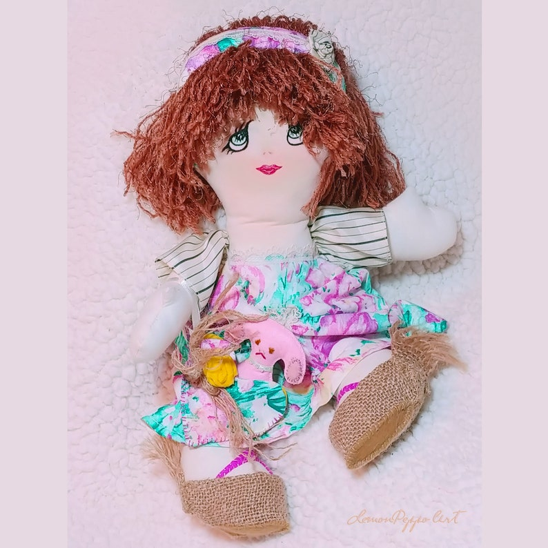 Handmade Fabric Folk Art Rag Doll Puppy Dog FREE SHIPPING image 0