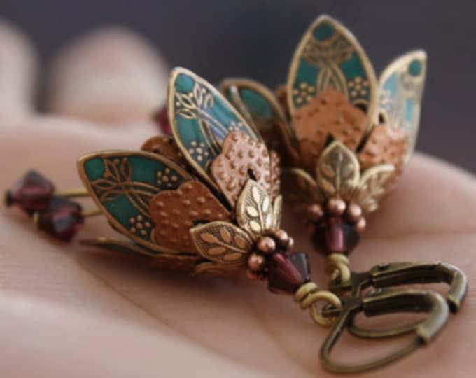 Teal Flower Earrings, Mother's Day Gift, Dangle Flower Earrings, Flower Drop Earrings, Dangle Earrings, Dangle Teal Earrings, Dangle Drop