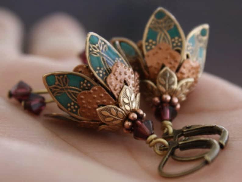 Dangle Earrings Mom Gift Dangle Teal Earrings Bell Flower image 0