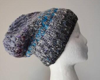 Grey Textured Alpaca Blend Knit Hat  - Merino Wool, Local Alpaca, Bamboo Handspun Handknit One-of-a-Kind Textured Knit Victor Hat Fall
