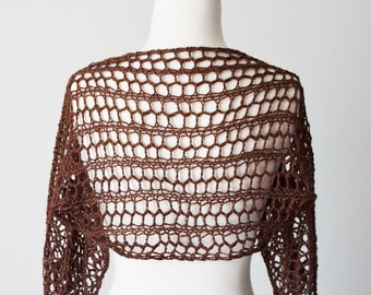 8cf8cd2a6f9 Lace Knit Shrug in Dark Chocolate   Cinnamon - Women s Fall Fashion