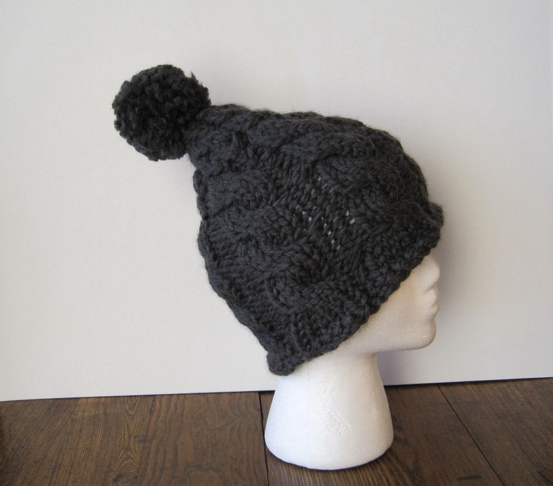 6ea7f396222 Cable Knit Pixie Beanie With Large PomPom Puff Dark Grey