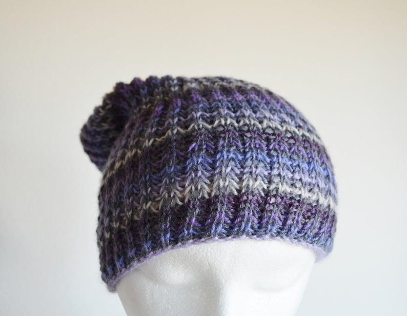 Durable Soft Lightweight Fine Handknit Beanie Hat Knit hat SALE Hand Knit Hat in Purple /& Grey Stripes Greys and Purples Grunge