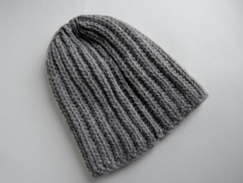 6d87b28e17a Classic Grey Knit Hat in 100% Wool Handknit Handmade Beanie