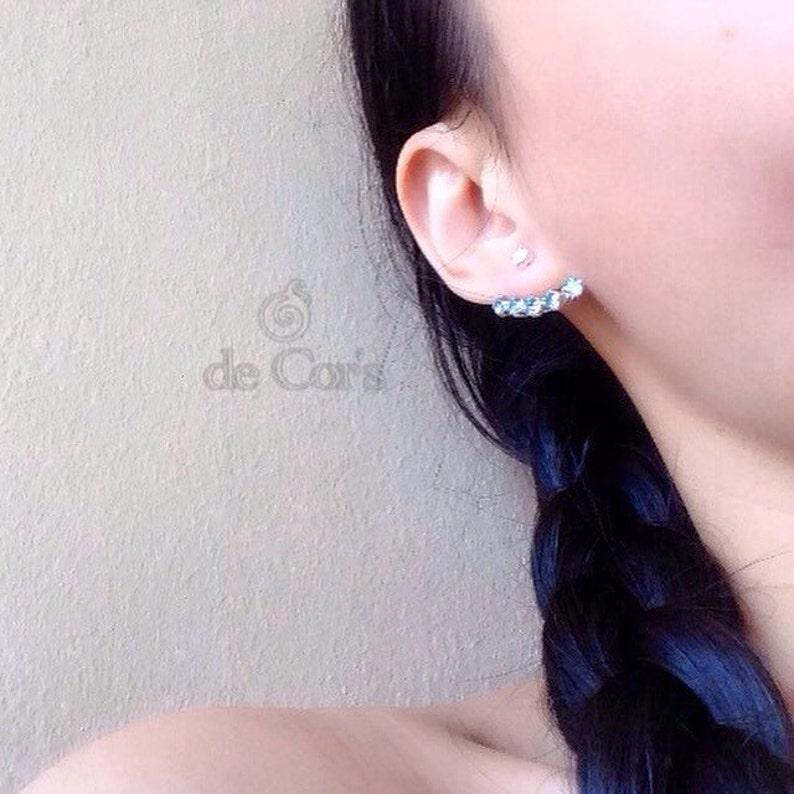 Sterling Silver Minimalist Handmade Ear Jacket Earrings Crystal Clear