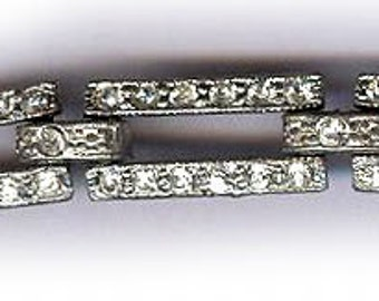Vintage ART DECO strass bracelet usure ou réutilisation pour le bracelet de mariée bracelet antique dix sections distinctes