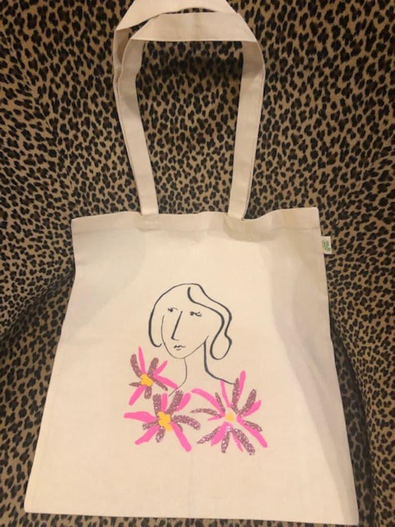 Woman /& Flowers Cotton Canvas Tote Bag