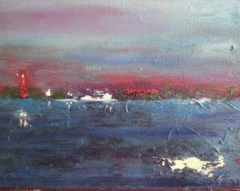 NIGHT COAST, Original oil on canvas, blue, red, lighthouse, sea, waves, lights