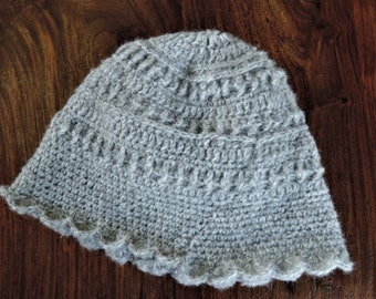 Grey kid mohair mix soft crocheted woman's  cloche hat, bonnet, warm
