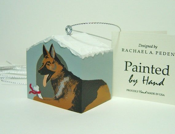 White Doghouse Ornament Hand Painted Easily Personalized French Bulldog