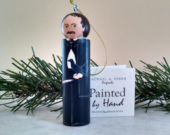 Edgar Allan POE Ornament Painted by Hand in USA