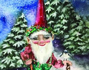 Watercolor Christmas, Holiday Gnome, North Pole Art. Christmas Scene, Fantasy Watercolor Painting, Snowy Xmas Print