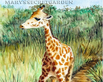 Giraffe Painting, Watercolor Giraffe, Giraffe calf, Art Print, African Animal, Nursery Decor, Totem Animal, Animal Artwork, Children's Room