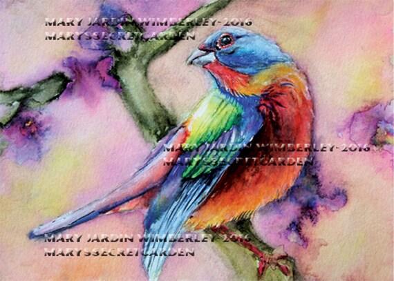 painted bunting art watercolor bird colorful bird print etsy