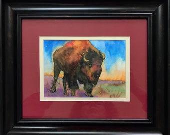 Framed Bison Painting, Buffalo, Original Watercolor, Native American Animal,  Watercolor Animal, Colorful Painting