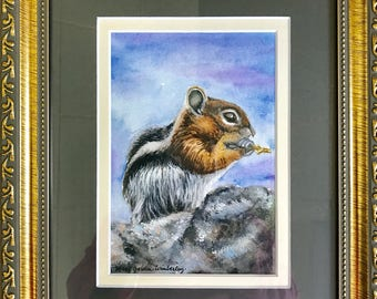 Chipmunk Painting, Watercolor, Chipmunk Art, Watercolor Chippy, Woodland Chipmunk, Framed Chipmunk, Chipmunk Art