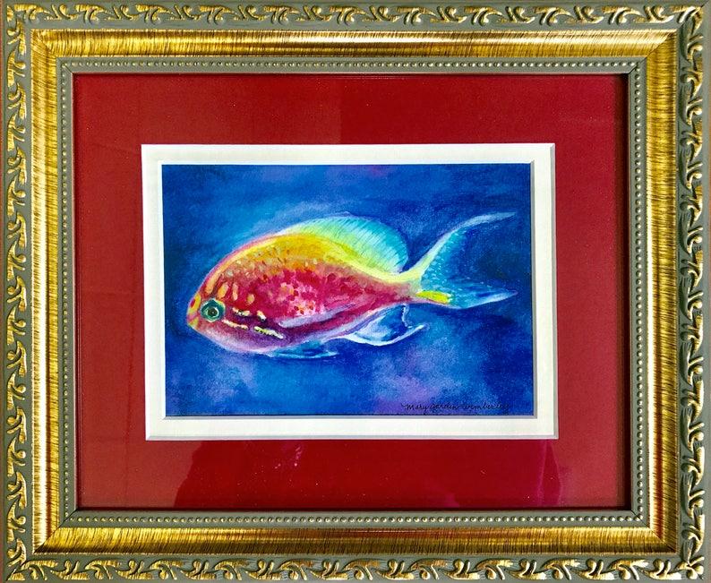 Original Painting Watercolor Glowing Fish Watercolor Fish image 0