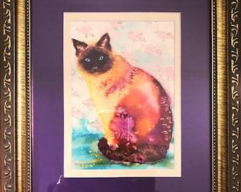 Watercolor Siamese, Colorful Cat Painting, Kitten Art, Watercolor Wash, Siamese Cat Portrait, Animal Totem, Cat Totem, Nursery Decor