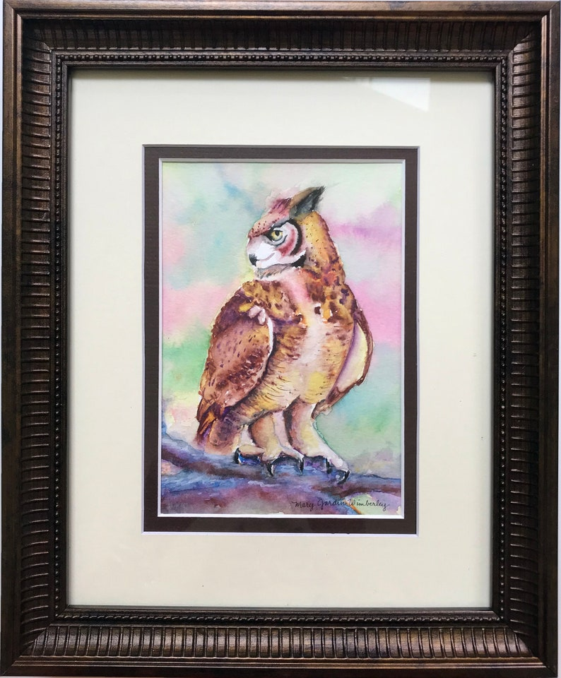Original Painting Watercolor Owl Art Watercolor Owl Horned image 0