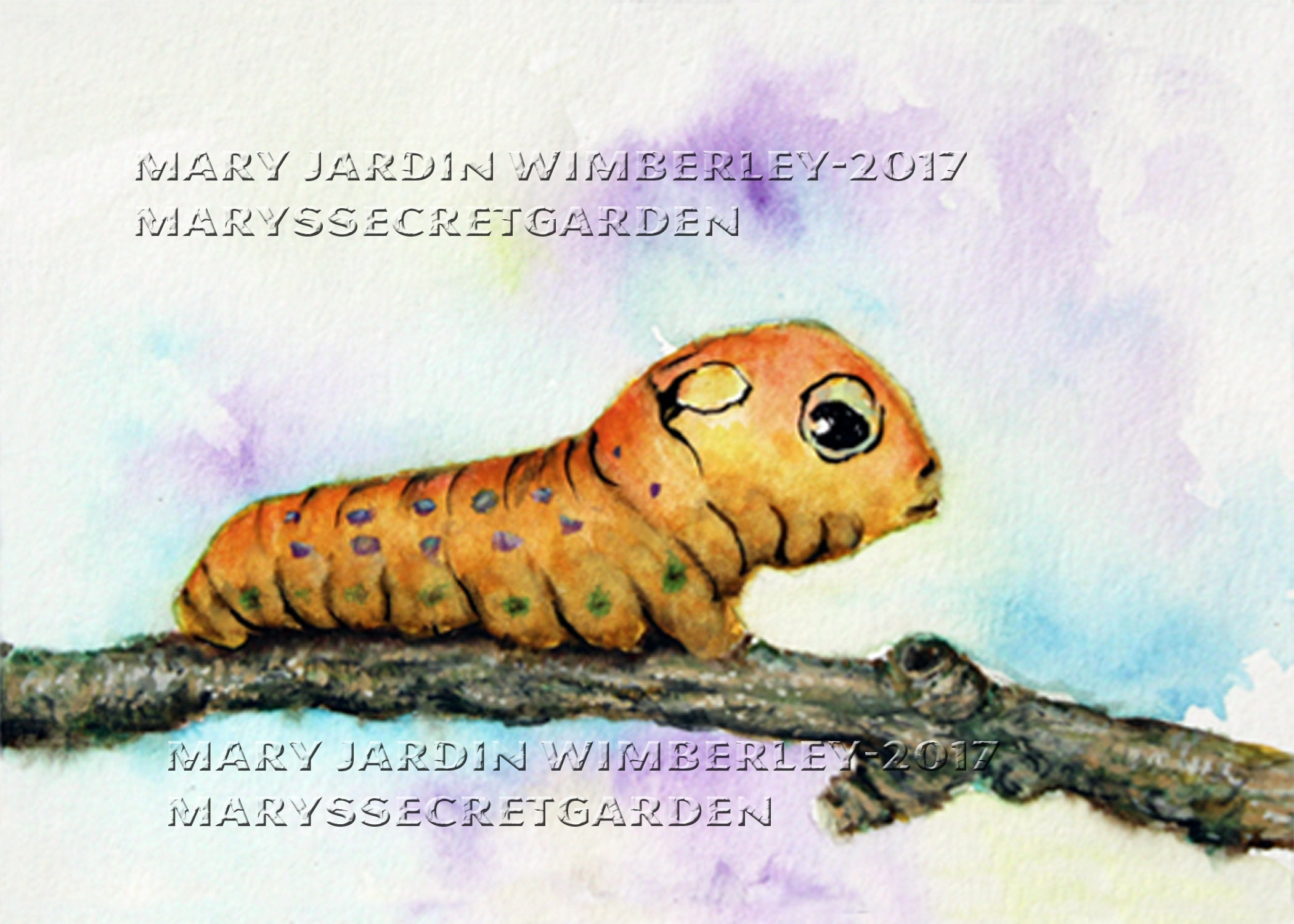 687bb9345ab66 Caterpillar Painting Watercolor Inchworm Cute worm painting