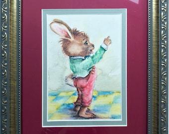 Framed Rabbit Art, Original Painting, Watercolor Bunny, Bunny Rabbit,Storybook Art, Book Illustration, Nursery Wall Art, Fairytale Art