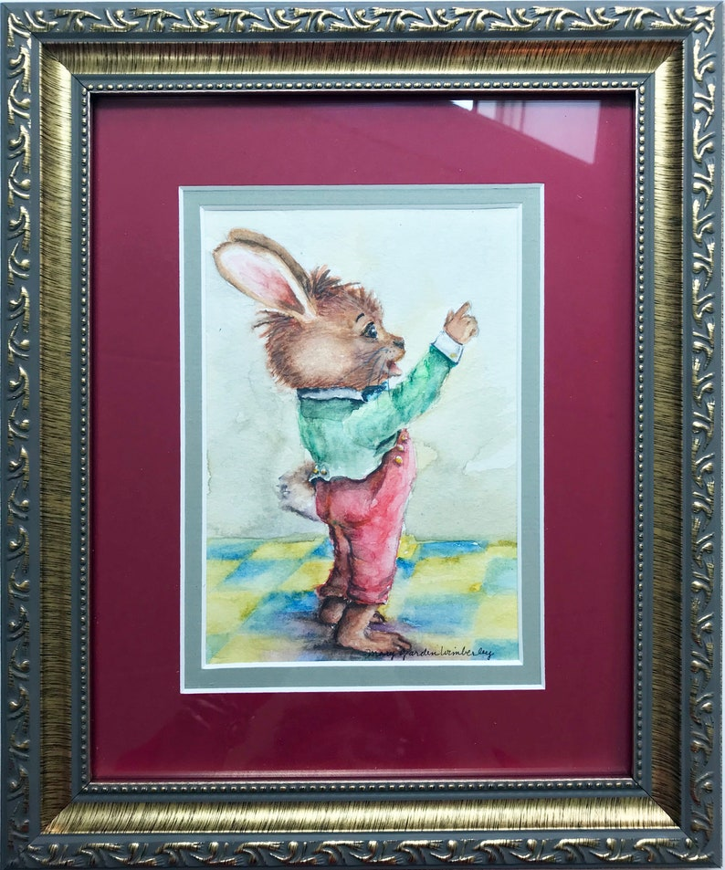 Framed Rabbit Art Original Painting Watercolor Bunny Bunny image 0