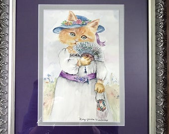 Watercolor Cat, Edwardian Kitten, Dressed Girl Cat, Antique Cat Print, Vintage Cat in Clothes, Storybook Kitten, Nursery Decor