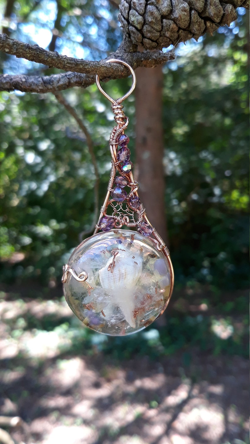 Forest Fairy Wire Art Beaded Wire Wrapped Copper Suncatcher image 0