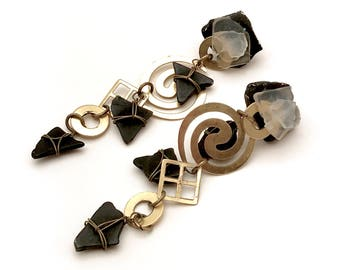 Vintage Black and Gold  Long  Geometric  Dangle Earrings  for Her Under 70 Free US Shipping and Gift Wrap