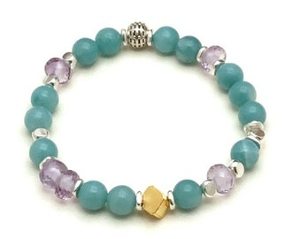 Amazonite Amethyst Glam Beaded Bracelet, OOAK Eclectic Pastel & Mixed Metals, Classic Boutique Timeless Style, Neutral Glam Gifting