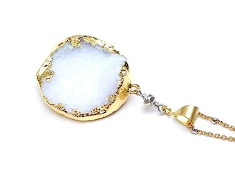 White Agate Druzy Minimalist Gold Sterling Silver Pendant Necklace  for Her Under 150 One of a Kind Wife Mom Girlfriend Gift Free Gift Wrap