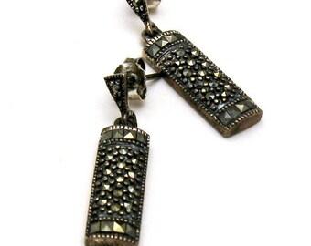 Vintage Maracasite Sterling Silver Minimalist  Post Earrings      Stud Earrings Retro Dangle, For Girlfriend or Mom Under 50