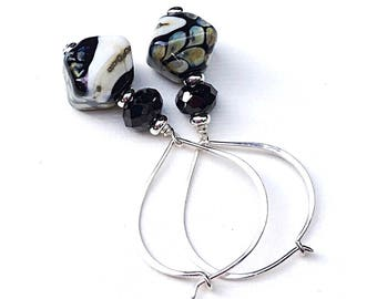 Black Spinel Sterling Silver Geometric Lampwork Dangle Earrings   Minimalist for Her Under 100, One of a Kind,