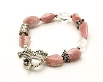 Luxe Pink Rhodochosite Bracelet Rock Crystal Eclectic  Bracelet   Boho Artistic Boutique Wearable Art Cool Artistic OOAK