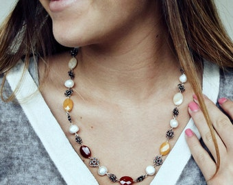 Pearl Carnelian Moonstone Boho Wire Wrapped Necklace with Sterling Silver by cooljewelrydesign, For Her Under 175