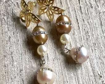 Cream Latte Freshwater Pearl Rhinestone Gold Post Dangle Earrings For Her Under 90 Free US Shipping Gift Wrap