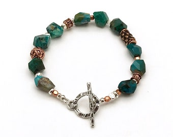 Artistic Chrysocolla Clasp Bracelet, Saturated Dark Teal with Mixed Metals, OOAK Cool Eclectic and Chunky, Classic Boutique Style, Timeless