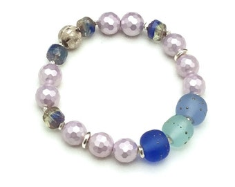 Lilac Shell & Ocean Lampwork Bracelet, Pastel Beaded with Sterling Silver, OOAK Eclectic and Timeless, Classic Boutique Style