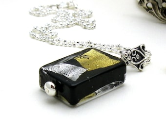 Black and Gold Murano Glass Minimalist Geometric Pendant  Necklace  For  Her Under 125, OOAK  Free Gift Wrap Mom Sister Friend