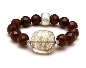 Gold Rutilated Quartz  Bracelet  Carnelian Minimalist Boutique     High End Wearable Art For Her Under 320