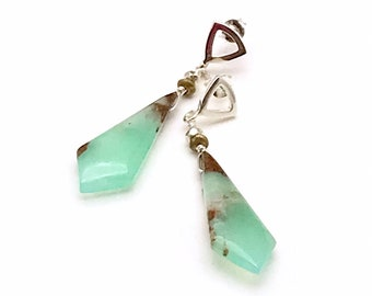 Boulder Chrysoprase Dangle Earrings, OOAK Striated Natural Kite Shaped Stone, Classic Timeless Boutique Style Earrings, Drop Dead Gorgeous