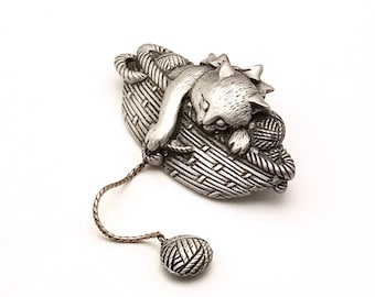 Vintage Pewter Kitty Pin  JJ Pewter Kitty in Basket Pin  Detailed Cat Brooch Cat Lover