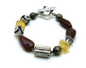 Geometric Boho Oxblood Citrine  Sterling Silver  Beaded Bracelet  For Her Under 200, Girlfriend Sister Wife Gift  One of a Kind