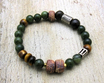 Green Jade Boho Woodland Beaded Bracelet Boutique Wearable Art     Gold Coral Bronzite for her under 220 One of a Kind  Sister Mom Gift
