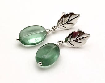 Green Fluorite and Sterling Silver Gem Quality Post Earrings OOAK Stud Earrings for her Under 100 Free Gift Wrap