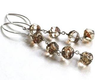 Gold Clear Beaded Dangle Earrings Sterling Silver Neutral Drop    Glass Earrings Lightweight