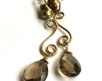 Vintage Smoky Quartz and Olive Green Freshwater Pearl Dangle Drop Earrings, for Her Under 100 Free Gift Wrap